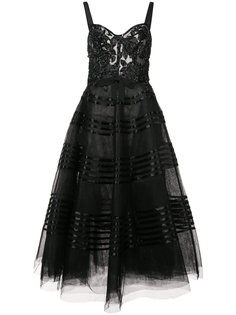 расклешенное платье миди Marchesa