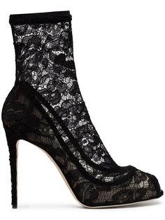 кружевные ботильоны с эластичной вставкой Dolce & Gabbana