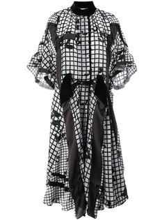 бархатное платье с камуфляжным узором  Sacai