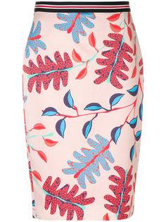 юбка-карандаш с принтом листьев Marc Cain