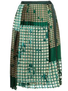 плиссированная юбка с принтом сетки Sacai