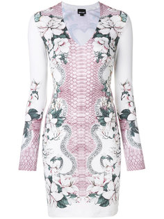 облегающее платье с принтом змеиной кожи Just Cavalli