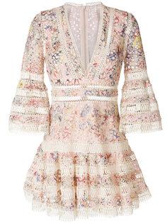 короткое платье с цветочным узором Zimmermann