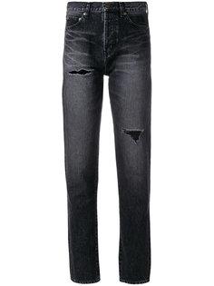 зауженные джинсы с потертой отделкой Saint Laurent