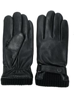 кожаные перчатки в рубчик Emporio Armani