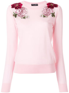 свитер с вышитыми розами Dolce & Gabbana