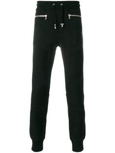 байкерские спортивные брюки с молниями Balmain