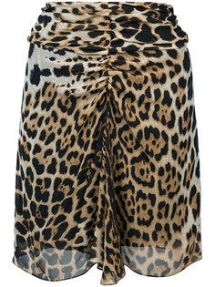 мини-юбка с леопардовым принтом  Saint Laurent