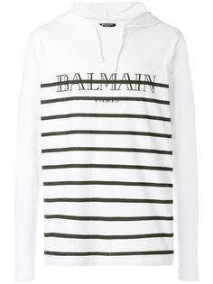 полосатая футболка с капюшоном  Balmain