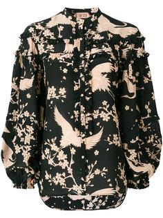 блузка с воротником-стойкой и оборками Nº21