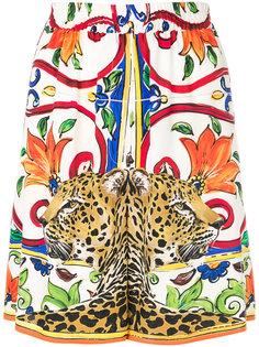 шорты с цветочным узором и принтом леопарда   Dolce & Gabbana