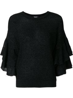свитер с оборками на рукавах DKNY