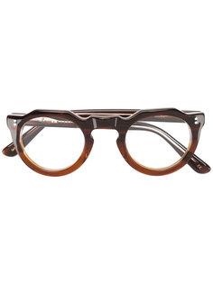 классические очки в круглой оправе Lesca