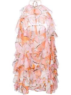 короткое платье с рюшами и принтом Emilio Pucci