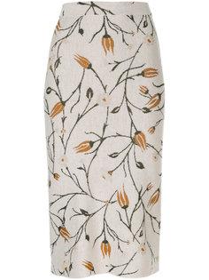 вязаная юбка с лиственным принтом Christian Wijnants