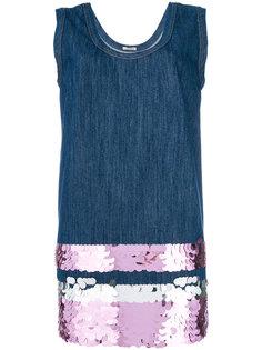 короткое джинсовое-платье с украшением из пайеток Miu Miu