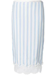 юбка-карандаш в полоску с кружевной отделкой  Rochas