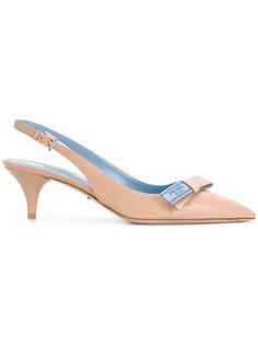 туфли-лодочки с ремешком через пятку и бантом  Prada