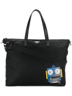 сумка-тоут с принтом робота Prada