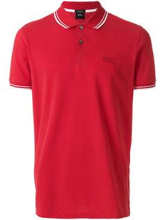 рубашка-поло с полосками на воротнике и манжетах Boss Hugo Boss