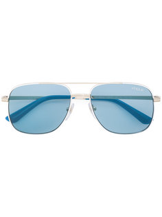 blue aviators  Vogue