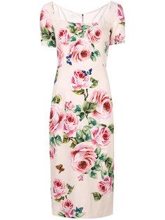 платье миди с принтом роз Dolce & Gabbana
