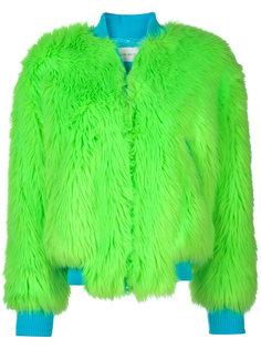 куртка-бомбер с меховой отделкой Alberta Ferretti