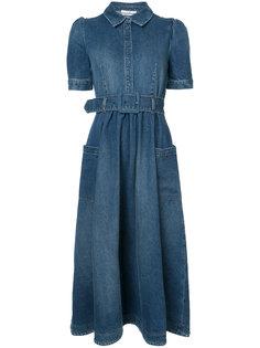 джинсовое расклешенное платье миди  Co