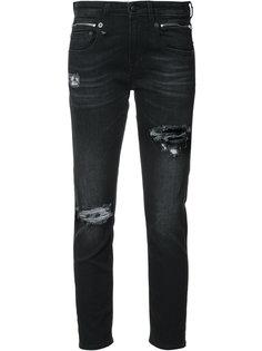 джинсы с потертой отделкой R13