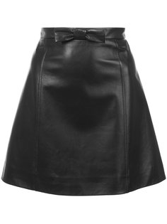 мини-юбка А-образного кроя из кожи Miu Miu