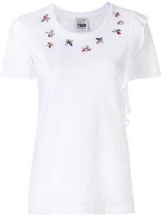 футболка с декорированной горловиной Twin-Set