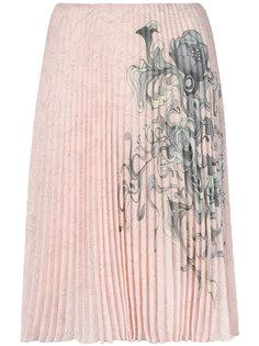 плиссированная юбка с принтом Prada