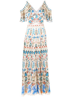 printed cold shoulder maxi dress Temperley London