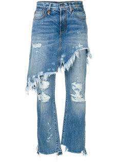 состаренные джинсы с юбкой  R13