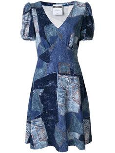 платье в стиле пэчворк с V-образным вырезом  Moschino