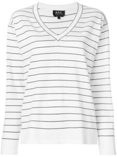 полосатый пуловер с V-образным вырезом A.P.C.