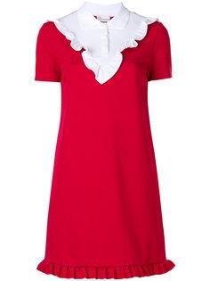 платье с отделкой в рубчик  Red Valentino