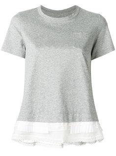 футболка с кружевной панелью Sacai