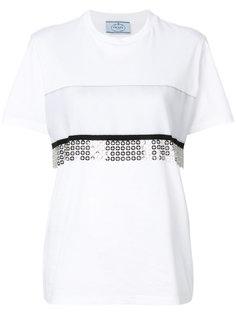 футболка с отделкой в стиле кольчуги Prada