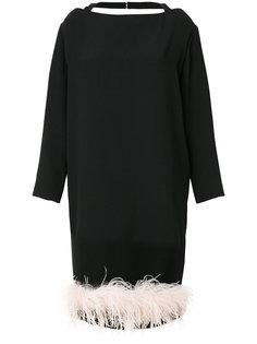 платье с отделкой перьями  Prada