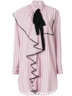 платье-рубашка с оборкой спереди  MSGM