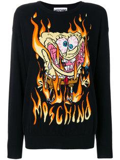 свитер с вышивкой SpongeBob Moschino