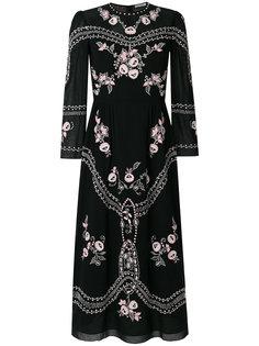 платье миди с цветочной вышивкой  Vilshenko