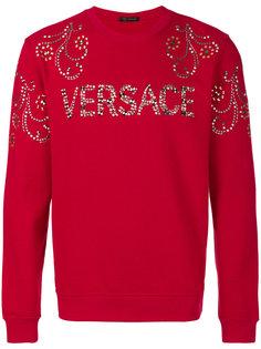 studded logo sweatshirt Versace