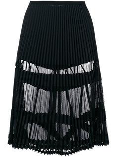 плиссированная юбка с прозрачными панелями  Versace