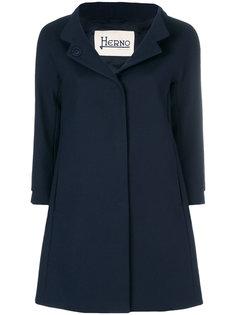 расклешенное однобортное пальто  Herno
