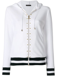 studded stripe detail zipped hoodie Versace