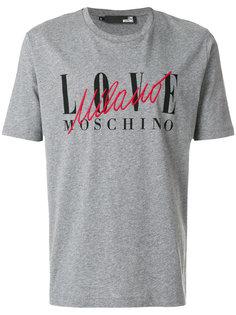 футболка с вышитым логотипом Love Moschino