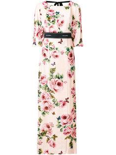 длинное платье с цветочным принтом  Dolce & Gabbana