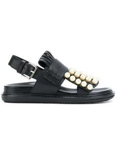 сандалии с жемчужными деталями Marni